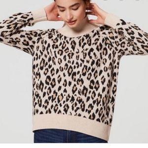 Ann Taylor LOFT Animal Print Mock Neck Sweater Med